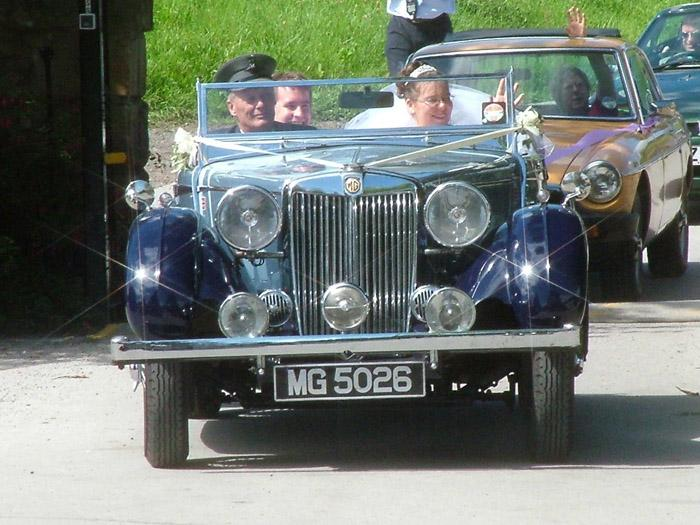 Christine and I in our Wedding car, an MG SA supplied by First Choice Wedding Cars of Nottingham.