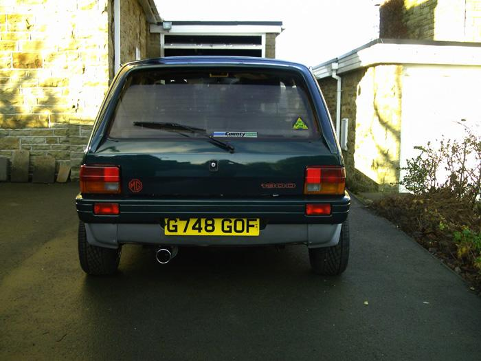 Rear view showing big exhaust