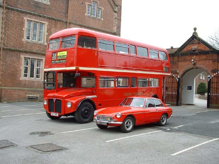 My 1970 BGT with Oldswinford Hospital Schools Routemaster Bus, which I also drive.