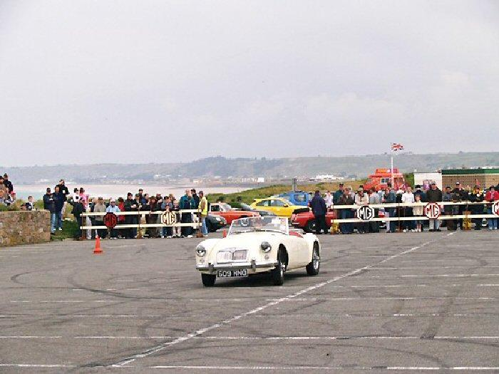Max Nunn on the driving skill circuit at the Jersey rally