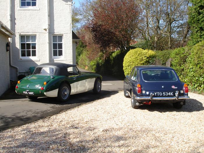 My MG and my dad's Healey 3000, don't even bother trying to keep up with that in the B!