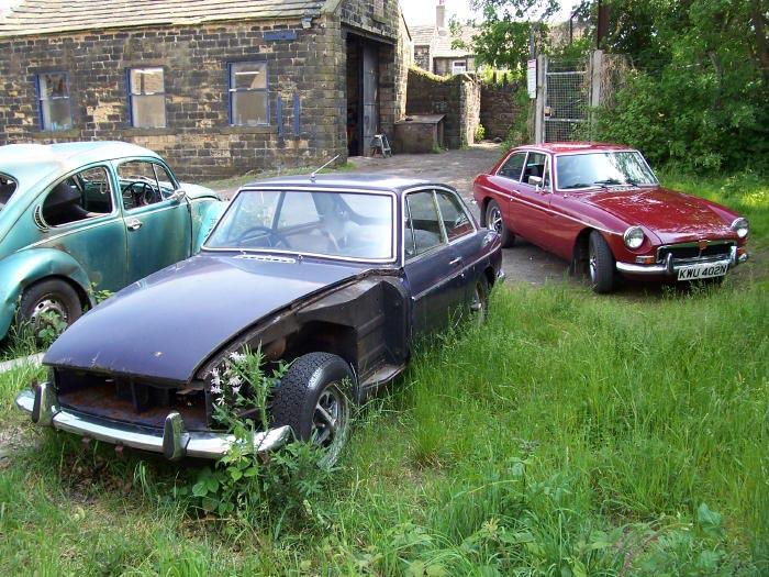 My MGB GT's 1973 Black Tulip and 1974 Damask Red
