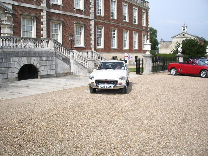 This is not a very good picture of my car (complete with flag!) at the MG picnic at Wimpole Hall this summer - What a great day!