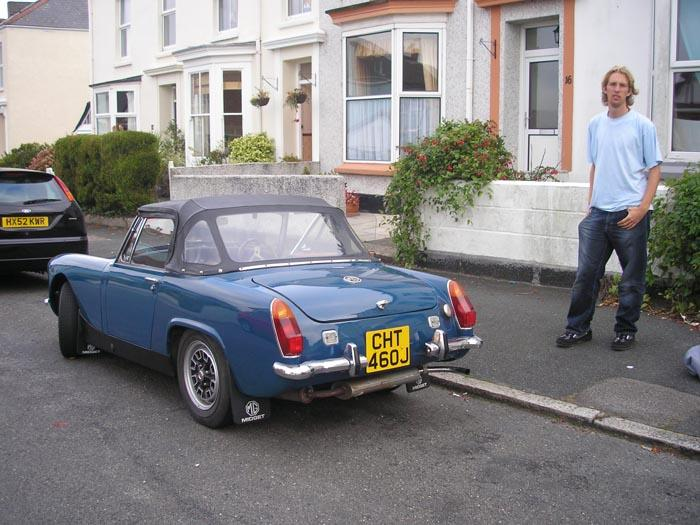 1971 midget, with me looking annoyed about something!
