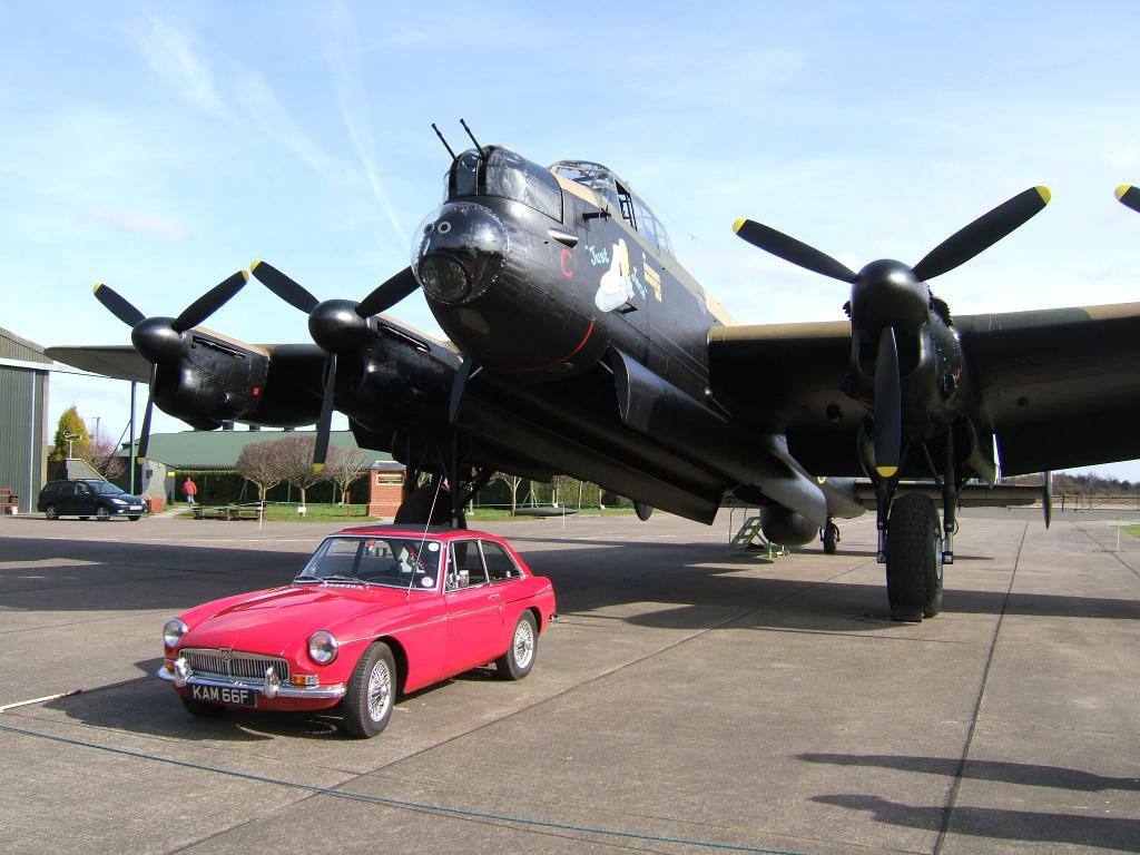 'Kamilla' with Avro Lancaster bomber at Lincolnshire Aviation Heritage Centre
