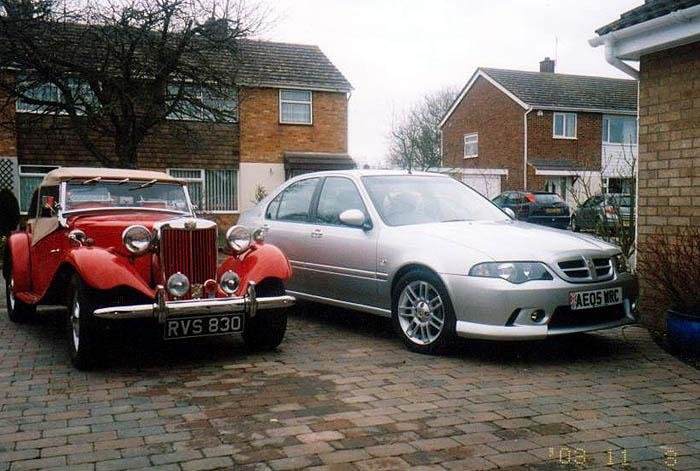 An MG TD and ZS show how the cars used to look and how they have progressed in the future.