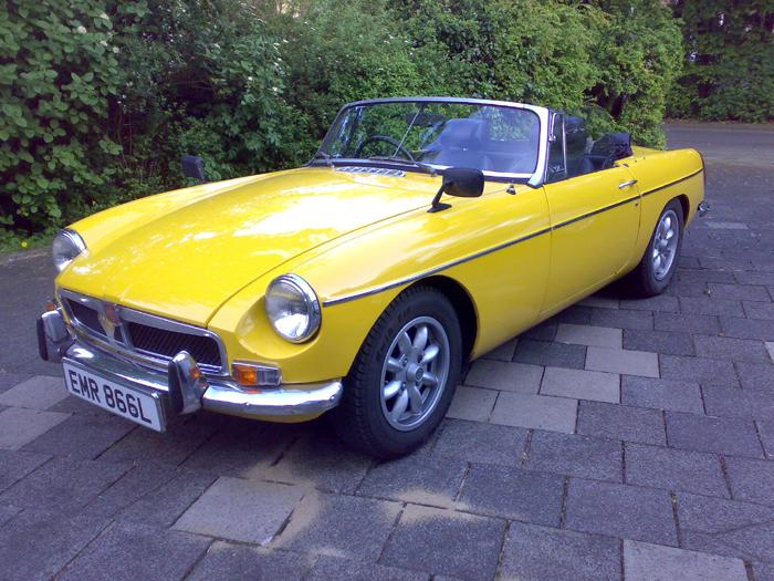 MG B Roadster 1971 registered with British Forces Germany and flying the flag abroad!