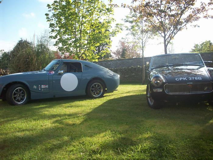 The racing Lenham Sprite and MG Midget in the sun shine !