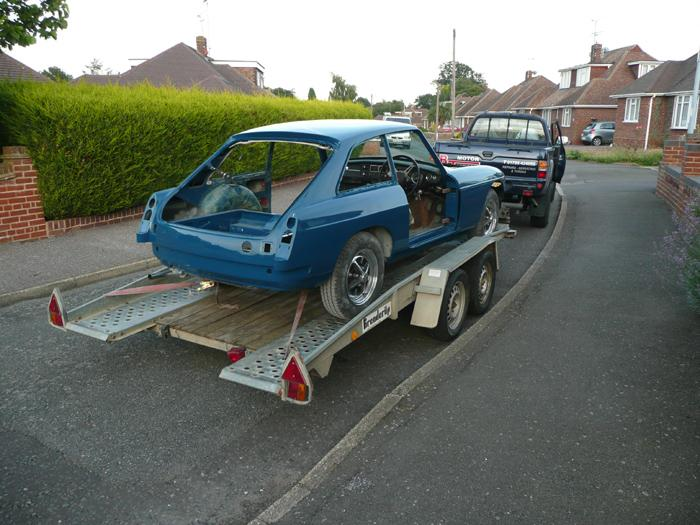 1973 MGB GT Teal Blue Being Delivered Ready For Rebuild