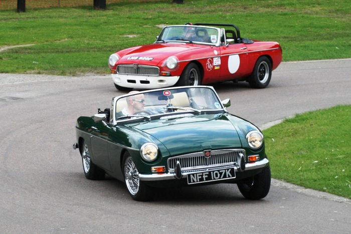 A quick sprint round the track proved how capable the MGB Roadster was, even with a tuned Sebring Roadster chasing it.