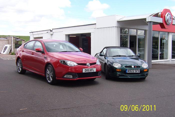 Delivery day of my MG6 along side my MGF at Hopton garage Stafford