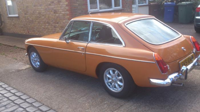 1974 MGB GT in Bronze Yellow,ready for the road after two and a half years of blood, sweat, tantrums and a few pennies!